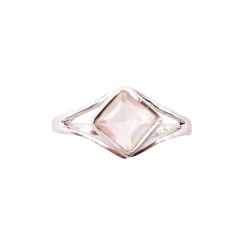 bague quartz rose argent