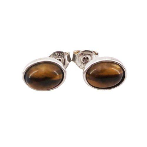boucle oreille oeil de tigre argent rhodie