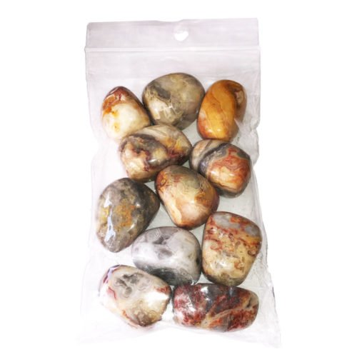 250grs bag of Crazy Lace Agate tumbled stones