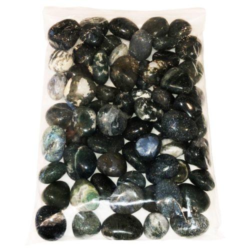 1 kg bag of Moss Agate tumbled stones