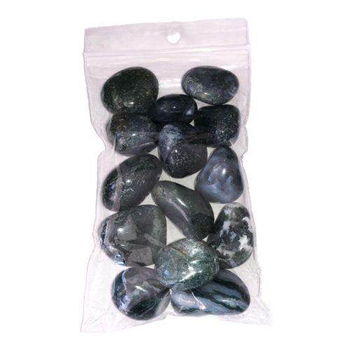 250grs bag of Moss Agate tumbled stones