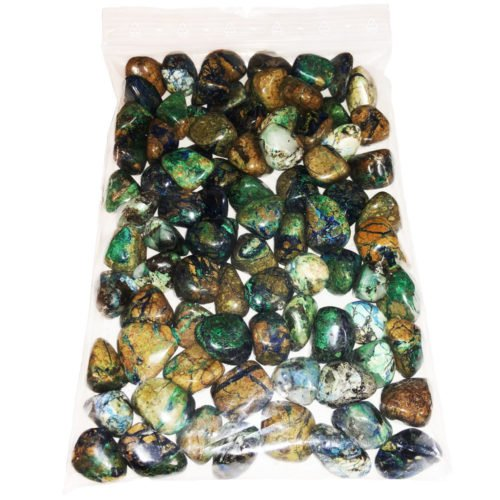1 kg bag of azurite malachite tumbled stones