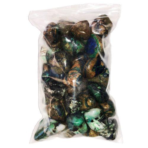 bag of azurite-malachite tumbled stones