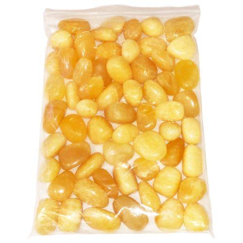 1kg bag of Orange Calcite tumbled stones