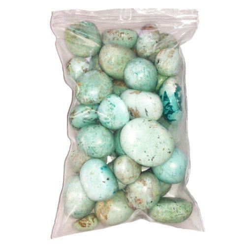 bag of Chrysocolla tumbled stones
