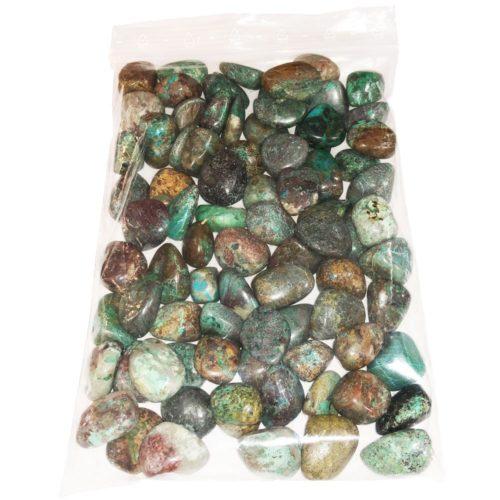 1kg bag of Turquoise Chrysocolla tumbled stones