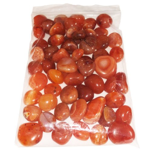 1kg bag of Carnelian tumbled stones