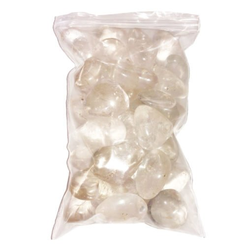bag of rock crystal tumbled stones