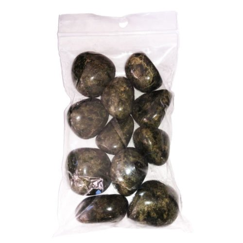 250grs bag of epidote tumbled stones
