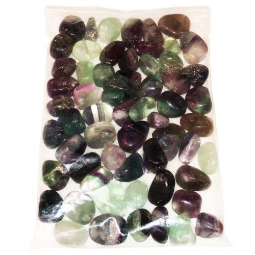 1kg bag of Rainbow Fluorite tumbled stones
