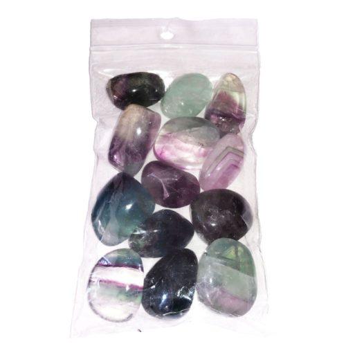 250 grs bag of Rainbow Fluorite tumbled stones