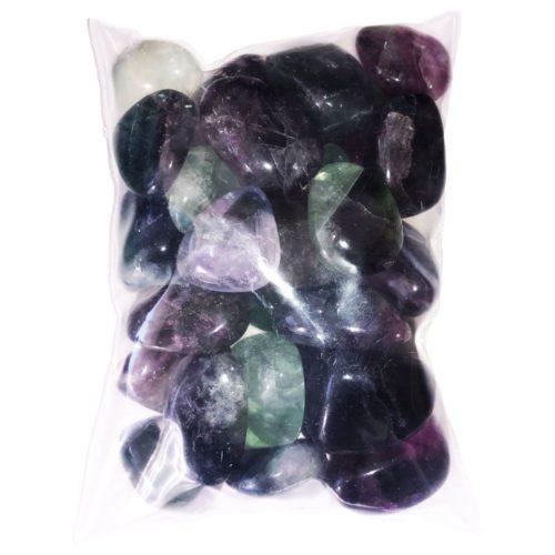 bag of rainbow fluorite tumbled stones