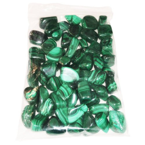 bag of malachite tumbled stones