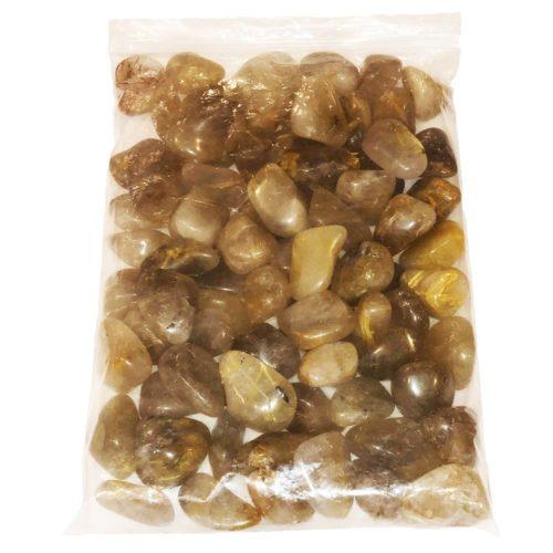 1kg bag of Rutilated Quartz tumbled stones