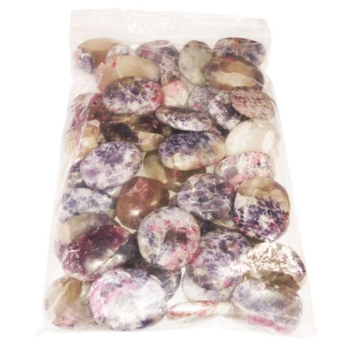 bag of Pink Tourmaline-Anhydrite tumbled stones