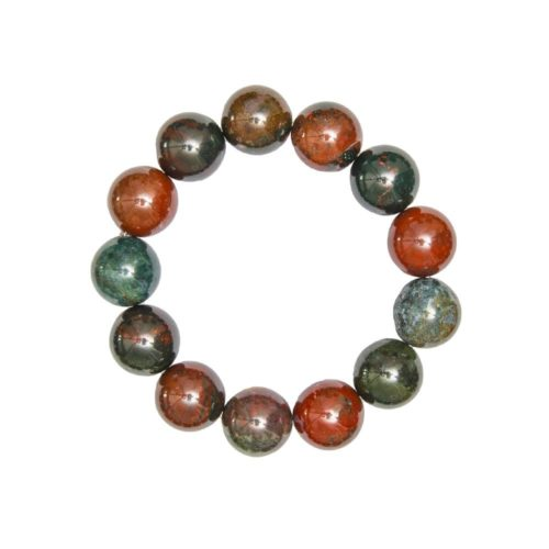 bracelet jaspe sanguin 14mm