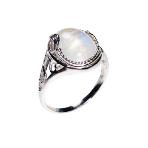 bague pierre de lune argent rhodie