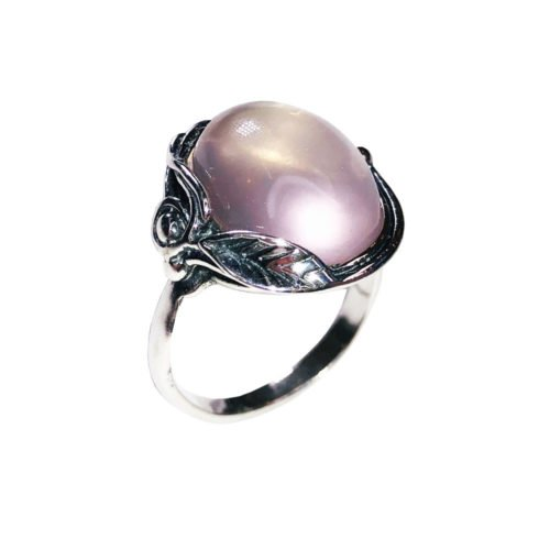 bague quartz rose argent rhodié