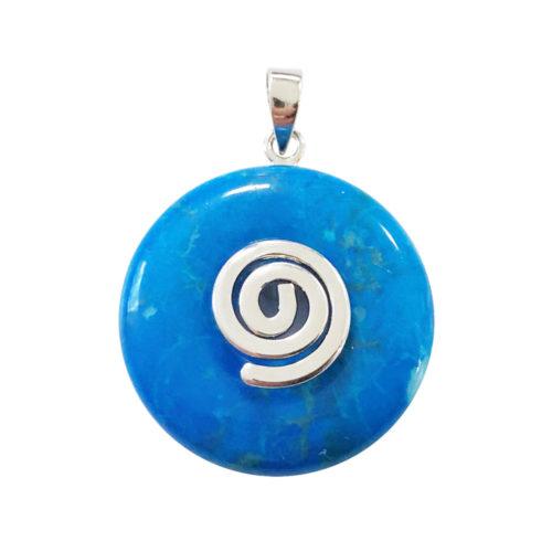 pendentif pi chinois donut howlite bleue argenté 20mm