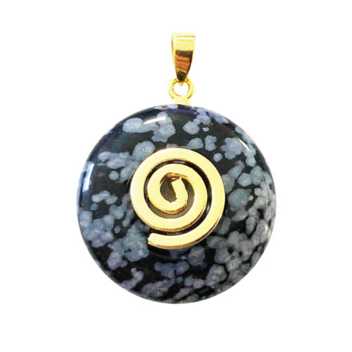 pendentif pi chinois donut obsidienne neige doré 20mm