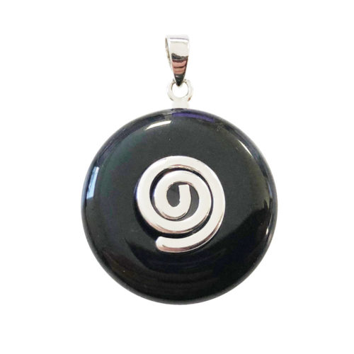 Onyx Pendant 20 mm Chinese Disk or Donut