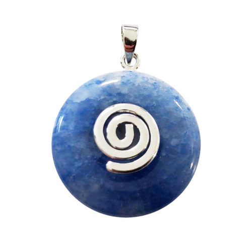Blue Quartz Pendant 20 mm Chinese Disk or Donut silver
