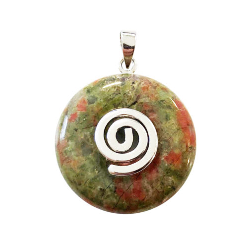 20mm-unakite-chinese-disc-donut-pendant-silver