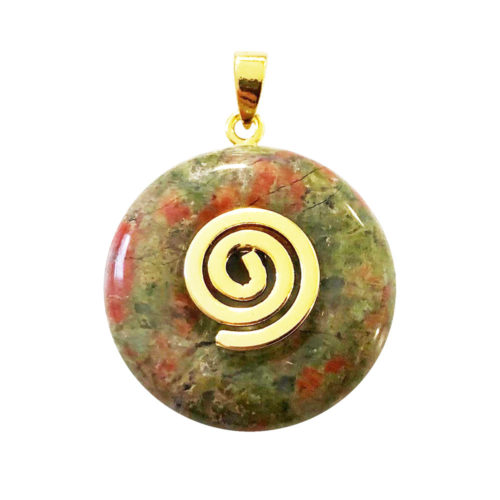 20mm-unakite-chinese-disc-donut-pendant-golden