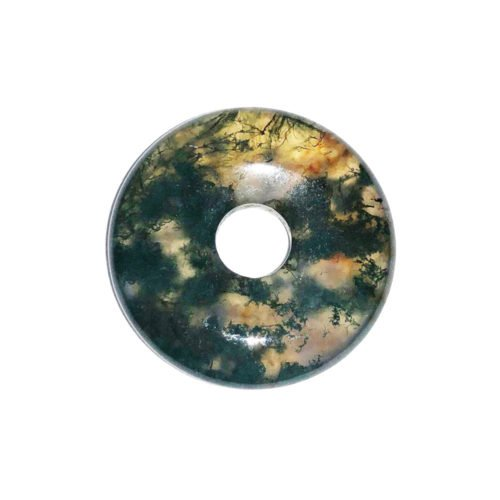 Moss Agate Chinese Disc or Donut – 20 mm