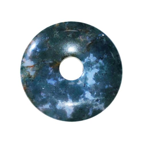 Moss Agate Chinese Disc or Donut – 40 mm