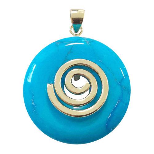 pendentif howlite bleue pi chinois
