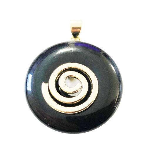 pendentif agate noire pi chinois