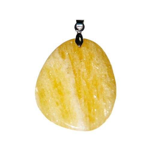 pendentif calcite orange pierre plate