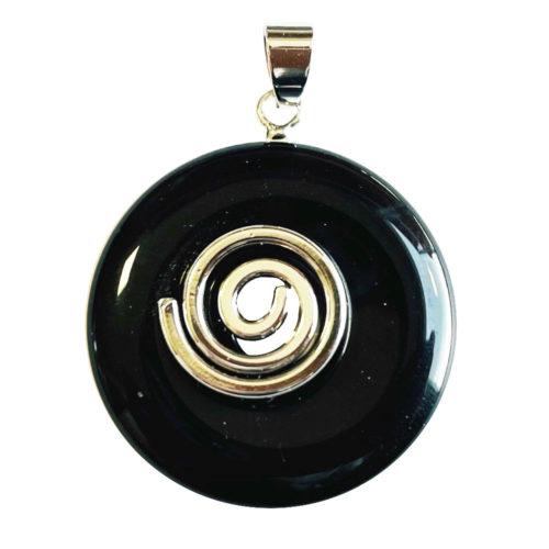 Pendentif Obsidienne argentée - PI chinois ou Donut
